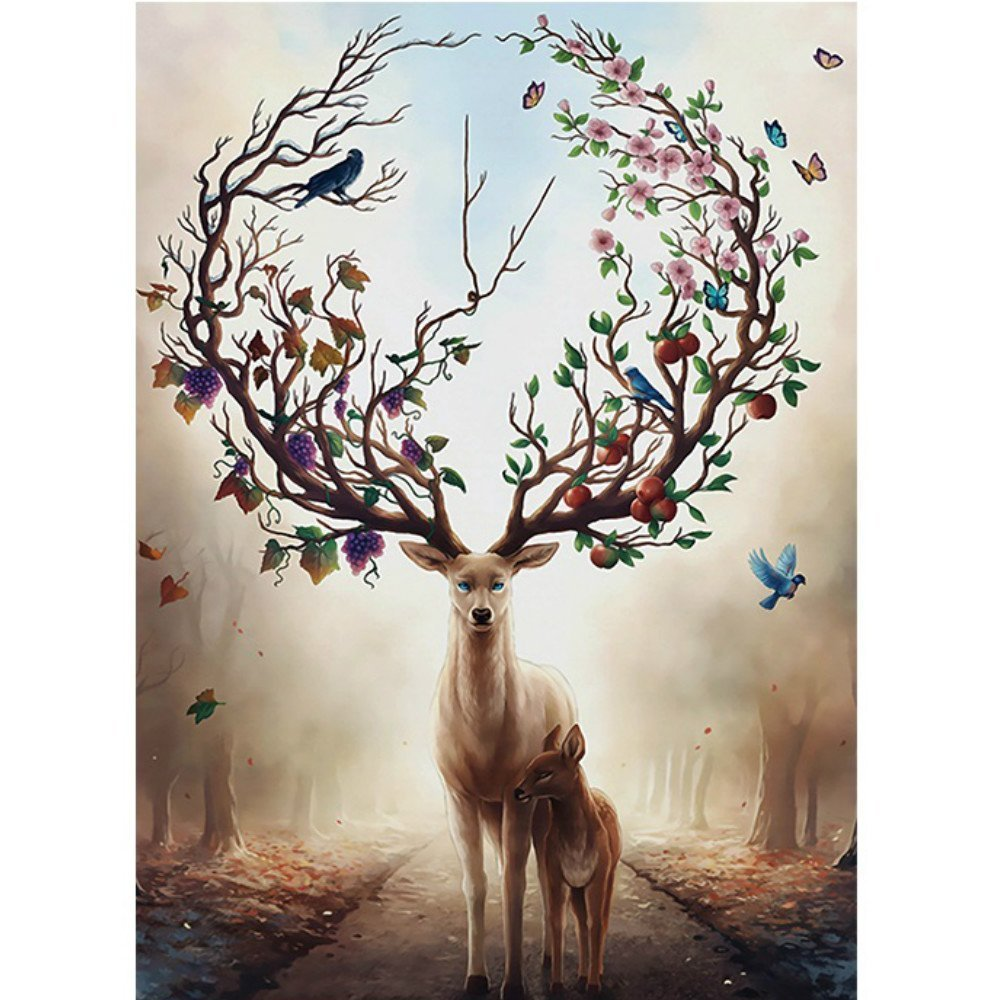 1000 Piece Jigsaw Puzzle - Deer in The Forest Jigsaw Puzzle for Kids Adult Teens Reduced Pressure Toy Gift - Learning and Education Toys Gift Art Wall Hanging CHengQiSM