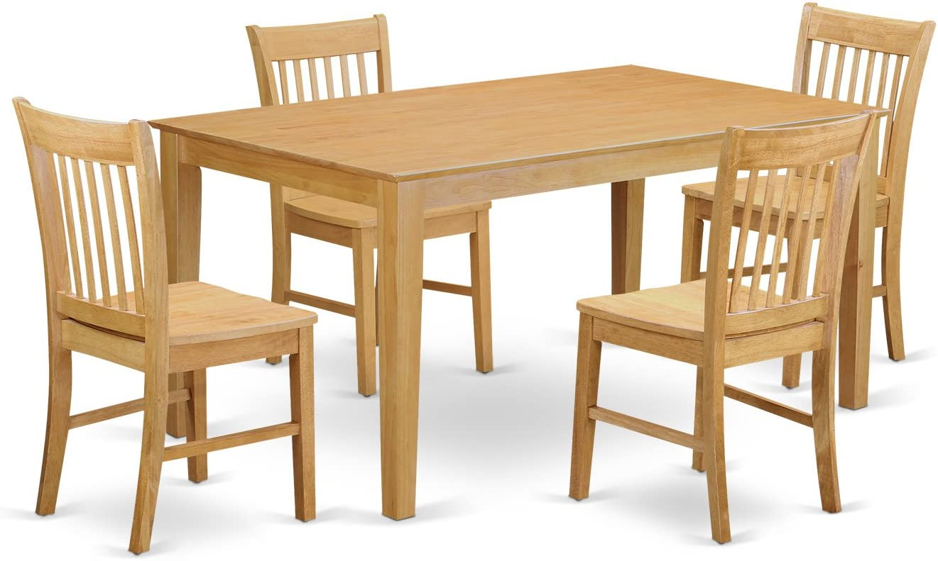 CANO5-OAK-W 5 Pc Dining room for 4 set– Dining Table and 4 Chairs