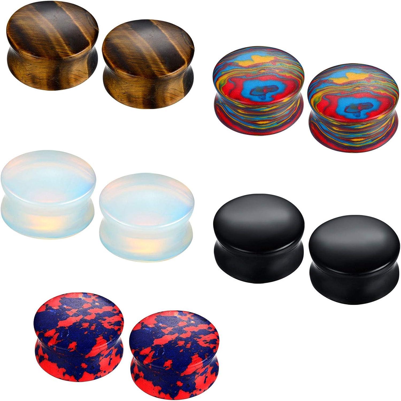 Organic Natural Polished Stone Ear Plugs 6 Pcs Assorted Sizes
