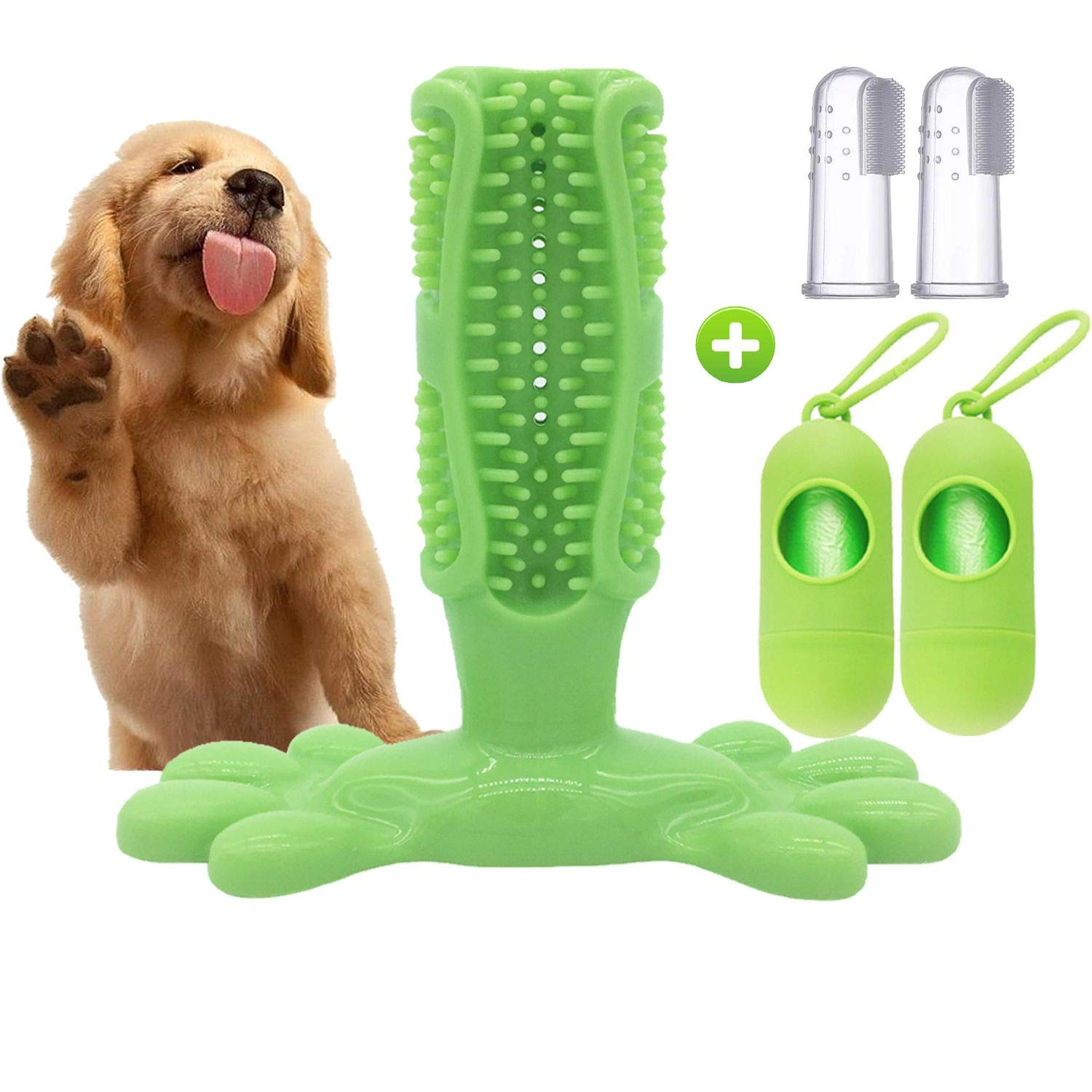 YALOON Dog Toothbrush with 2 Sets of Dog Poop Bags & 2pcs of Silicone Finger Toothbrush for Small & Medium Dogs (10LBS-30LBS), Green 5inch by YALOON