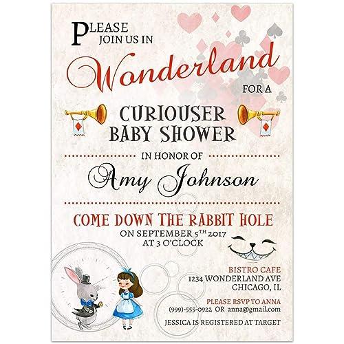 Amazon Com Alice In Wonderland Baby Shower Invitations Handmade