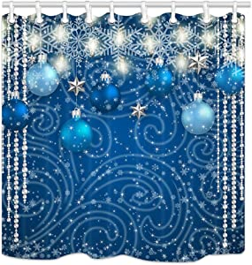 NYMB Christmas Shower Curtain Bathroom Decor, Blue Balls Silver Stars Lights Snowflake for New Year, Polyester Fabric Winter Festival Shower Curtains for Bathroom, Bath Curtain Hooks Included,69X70in