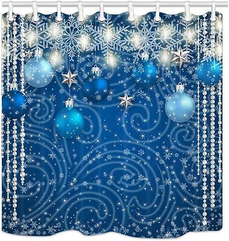 Christmas Balls Silver Crystal Snowflakes Waterproof Fabric Shower Curtain Set