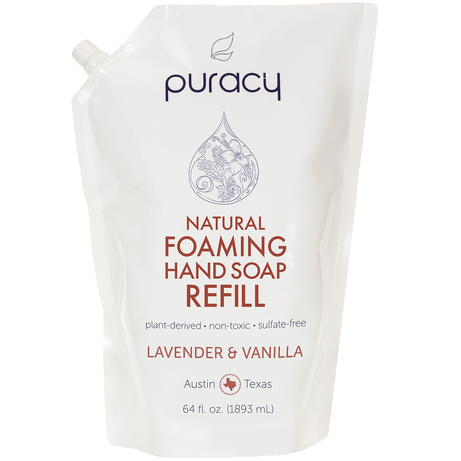 Puracy Natural Foaming Hand Soap Refill, Sulfate-Free Moisturizing Hand Wash, Lavender and Vanilla, 64 Fluid Ounce