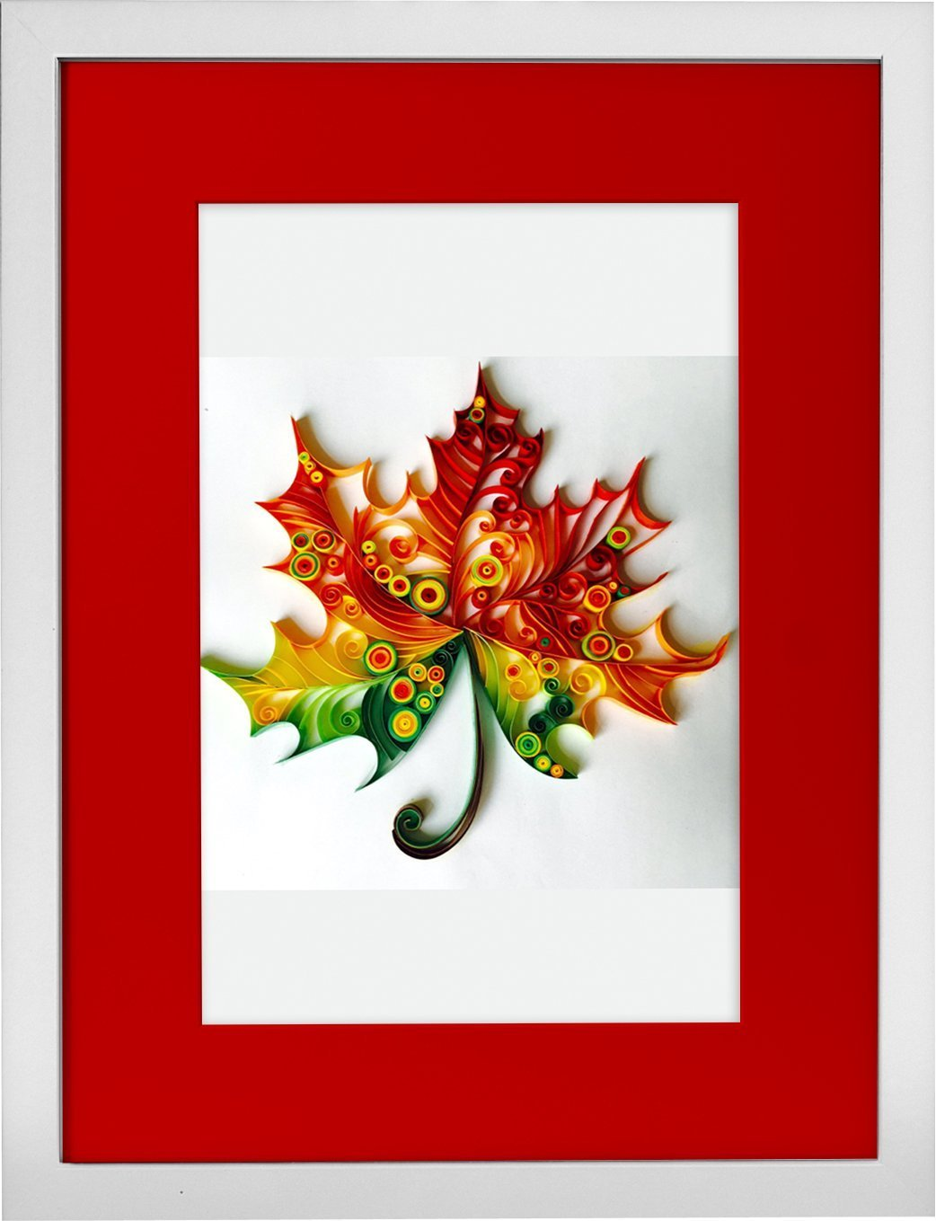 Maple Leaf - Modern Paper Quilled Wall Art for Home Decor (one of a kind paper quilling handcrafted piece made with love by an artist in California)