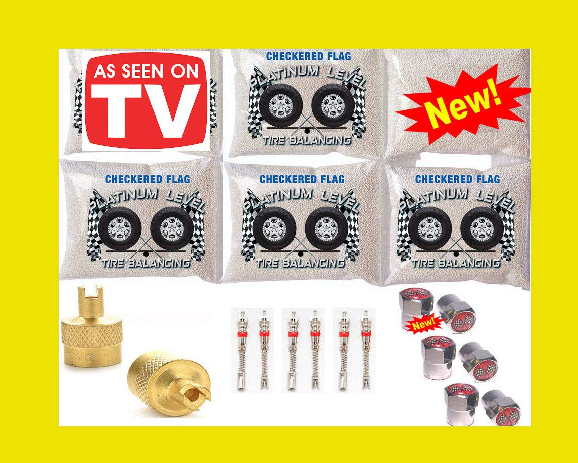 Tire Balance Beads 6-8oz Bags, 48 Ounces Tire Balancing Beads Kit for Dually Trucks with Filtered Valve Cores, Chrome Caps Included with DIY Tire Beads by Checkered Flag Tire Beads