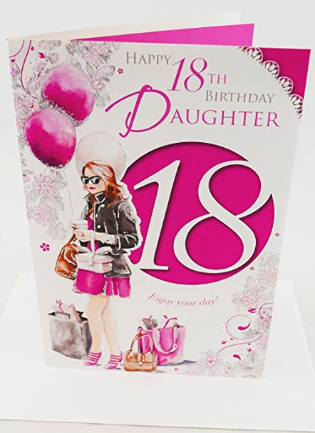 Magnificent Happy 18Th Birthday Daughter Pink Girls Age 18 Verse Poem Quality Funny Birthday Cards Online Fluifree Goldxyz