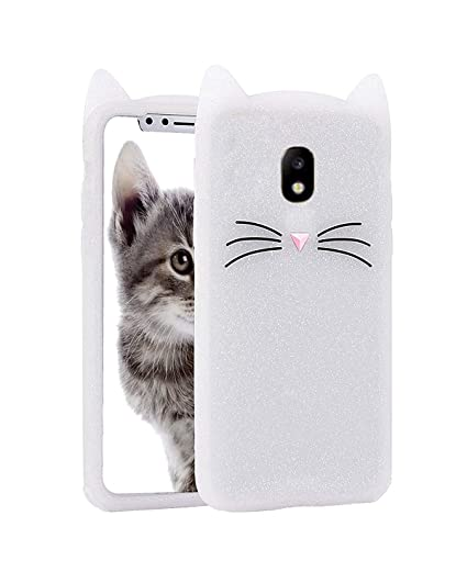 finest selection fb4d4 4775e Wprie Samsung Galaxy J7 Pro [3D Cartoon Series] 3D Cute Cat Meow Soft  Silicone Back Cover for Samsung J7 Pro - (White) 3D Meow Party Bread Cat  Kitty ...