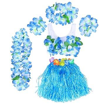BESTOYARD Conjunto de Disfraces de Hula Hawaiana para Niños con Pulseras Diadema de Flor Falda Azul 40CM 6 Piezas