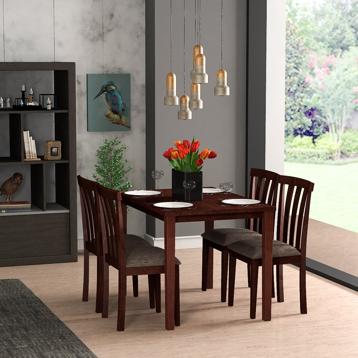 Forzza Miami Four Seater Solid Wood Dining Table Set Oak