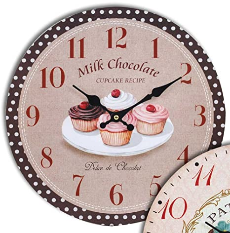 Reloj cocina: Cupcake Milk Chocolate, 34 cm