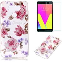 For LG G6 Case with Pattern Pink Rose,OYIME Glitter Bling Design Ultra Thin Slim Fit Protective Back Cover Soft Silicone Rubber Shell Drop Protection Anti-Scratch Transparent Bumper and Screen Protector