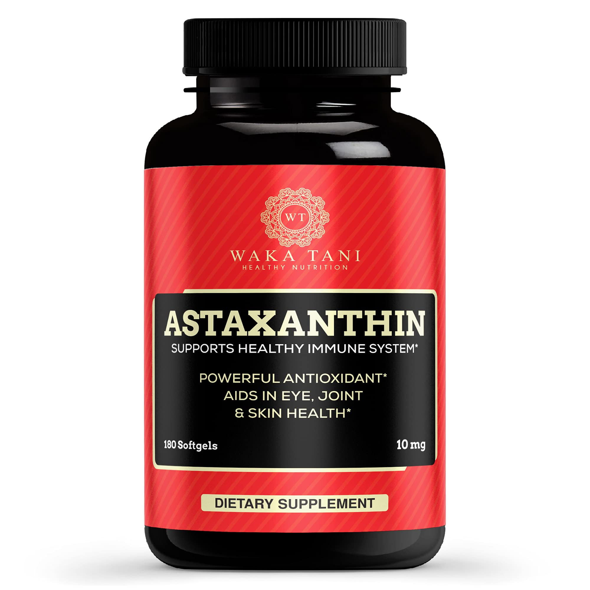 Astaxanthin 10mg 180 Softgels. Powerful Antioxidant & Anti-inflammatory Keto Carotenoid. Natural Algae Supplement. Recommended for: Joint, Brain, Eye, Cardiovascular & Immune System.