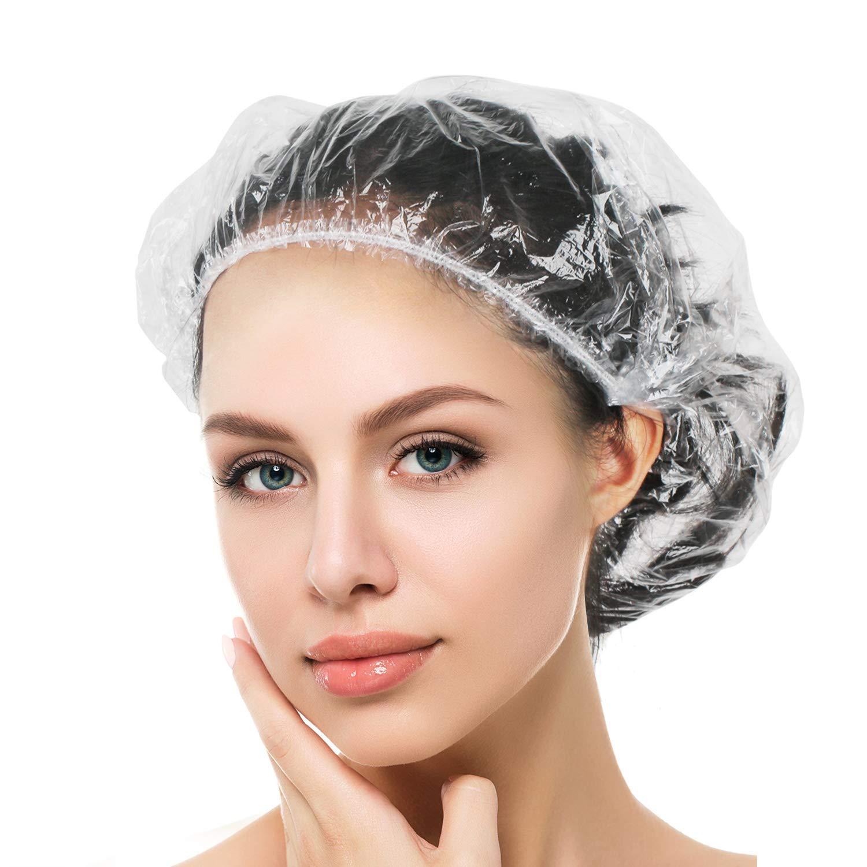Auban Shower Cap Disposable, 100 PCS Bath Caps Large Thick Clear Waterproof Plastic Elastic Hair Bath Caps for Women Kids Girls, Travel Spa, Hotel and Hair Solon, Home Use