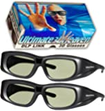 DLP LINK 144 Hz Ultra-Clear HD 2 PACK 3D Active Rechargeable Shutter Glasses for All 3D DLP Projectors - BenQ, Optoma, Dell, Mitsubishi, Samsung, Acer, Vivitek, NEC, Sharp, ViewSonic & Endless Others!