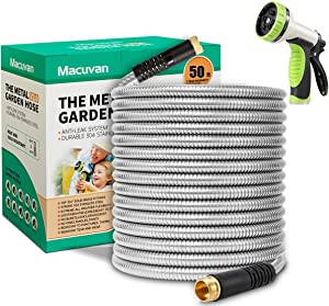 Macuvan Flexible Metal Garden Hose 50ft-Heavy Duty Water Hose with Durable 304 Stainless Steel and 10 Way Spray Nozzle-Strong 3/4'' Solid Brass Fittings-Outdoor Yard No Kink Lightweight Hose Pipe