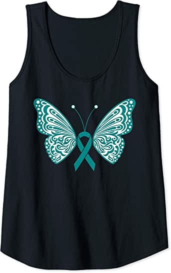 Amazon Com Womens Ovarian Cancer Awareness Teal Ribbon Butterfly Wings Tattoo Tank Top Clothing