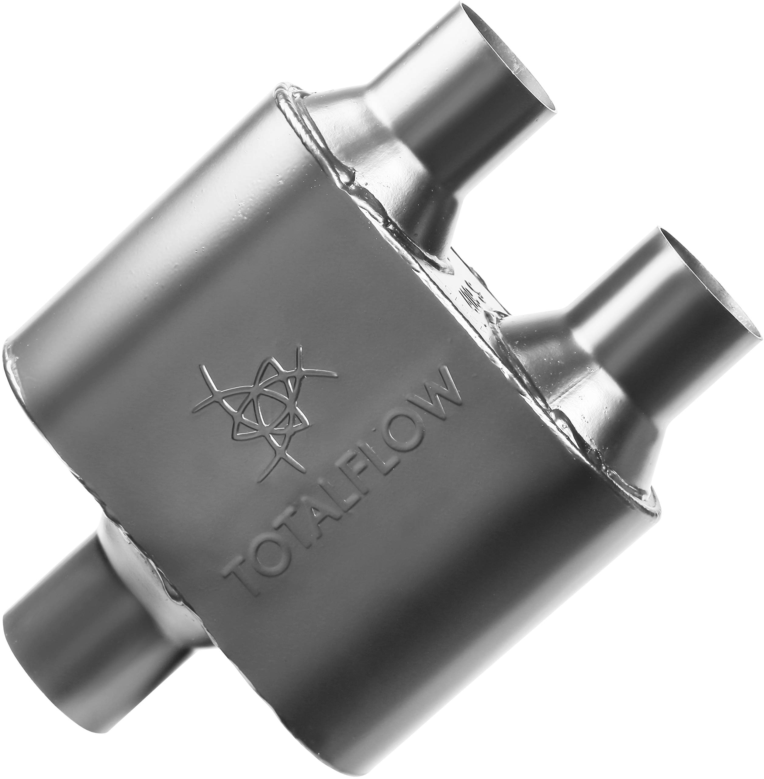 TOTALFLOW 442515-2 Premium Quality Single Chamber Universal Race Muffler-2.50'' Center in/2.25'' Dual Out (409 Stainless Steel/Black)