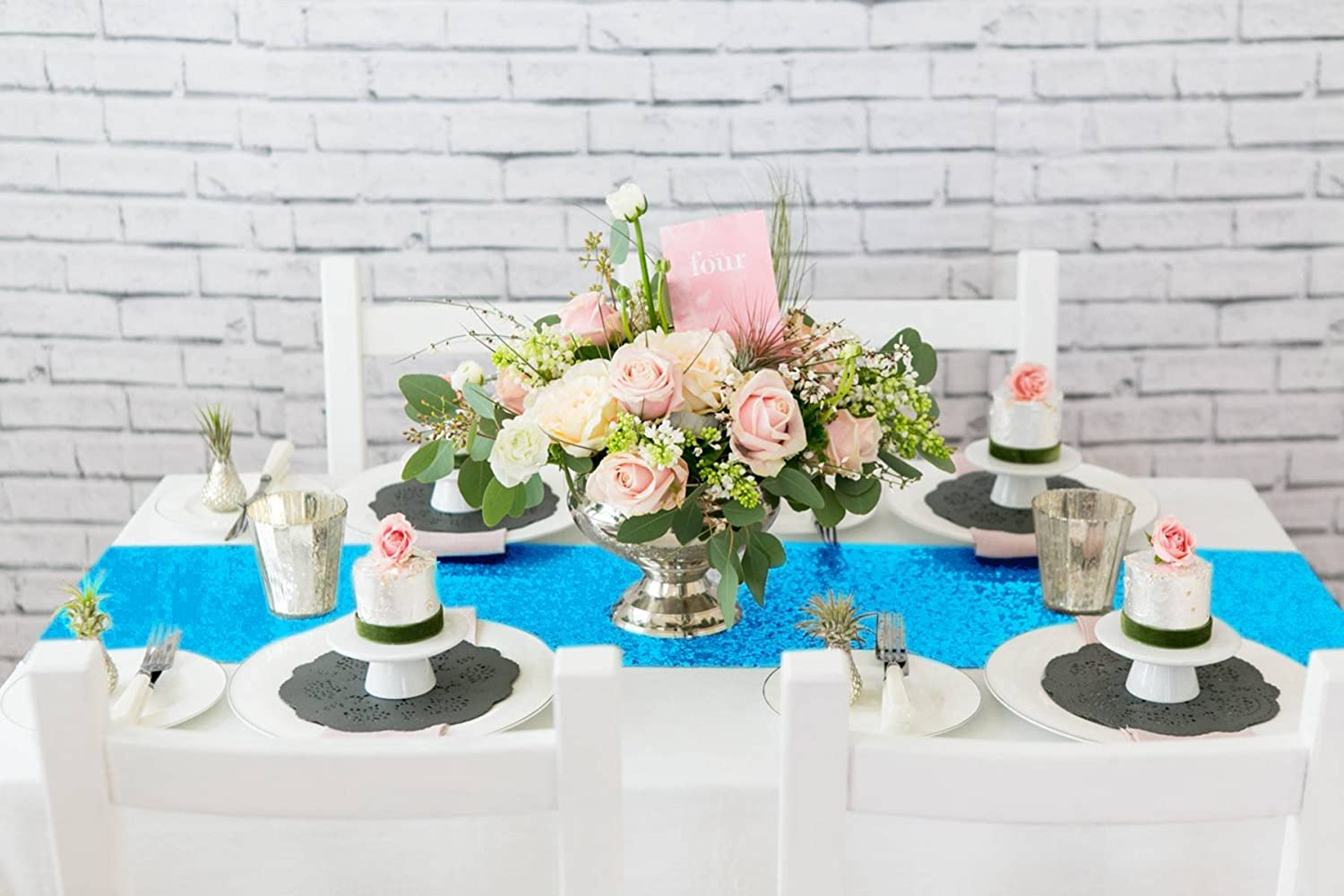 ShinyBeauty Sparkly Turquoise Sequin Table Runner For Wedding/Events Decoration 30 * 180cm Wedding Decorations (Can Choose Your Color): Amazon.co.uk: ...