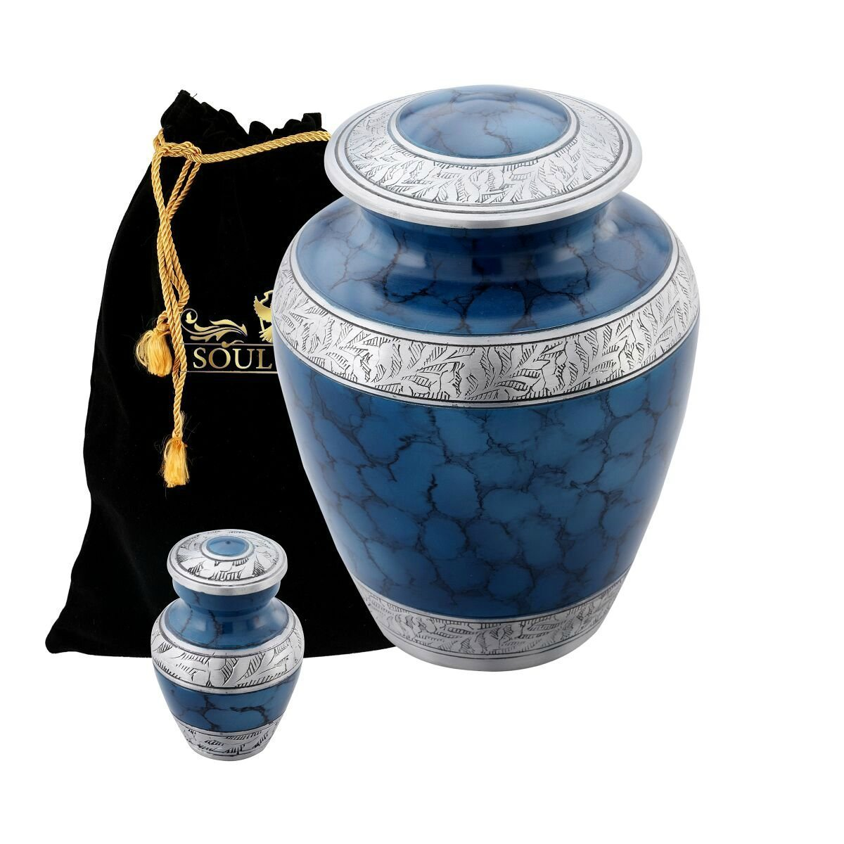 Funeral Urn by SoulUrns - Mystic Blue Cremation Urn With Identical Keepsake Urns for Human Ashes - Display Burial Urn at Home - Combo Pack