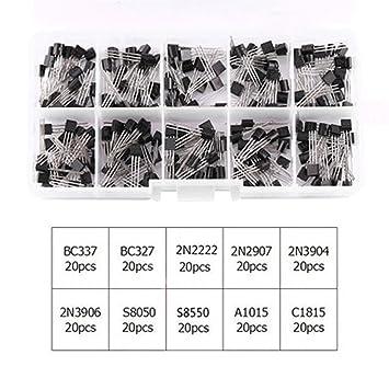 lzndeal 20pcs x 10 Tipos Caja del Kit del Transistor de Poder de NPN PNP BC337 BC547 2N2222 S8050: Amazon.es: Hogar