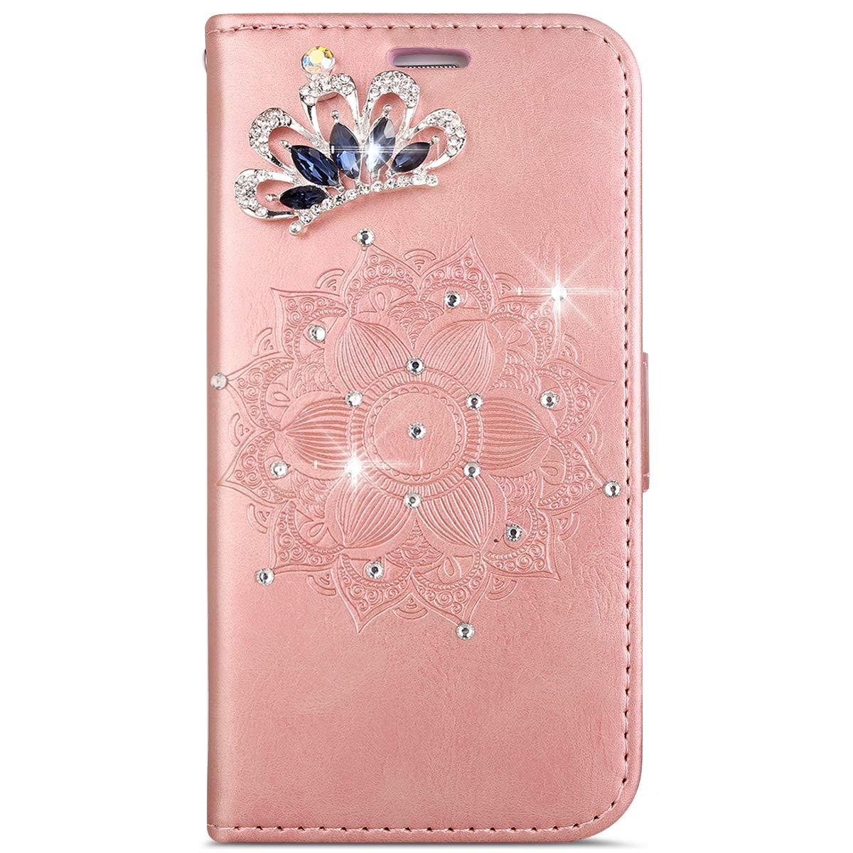MoreChioce Galaxy S7 Edge Hülle,Galaxy S7 Edge Hülle Leder Glitzer, 3D Diamant Strass Kristall Glänzend Muster Klapphülle Flip Wallet Magnetverschluß für Samsung Galaxy S7 Edge