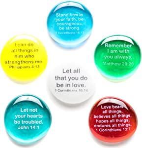 Scripture Glass Stones, Six of Your Favorite Inspiring Bible Verses on Translucent and Opaque Rocks, Packaged in a Deluxe Box by Lifeforce Glass.Set III.