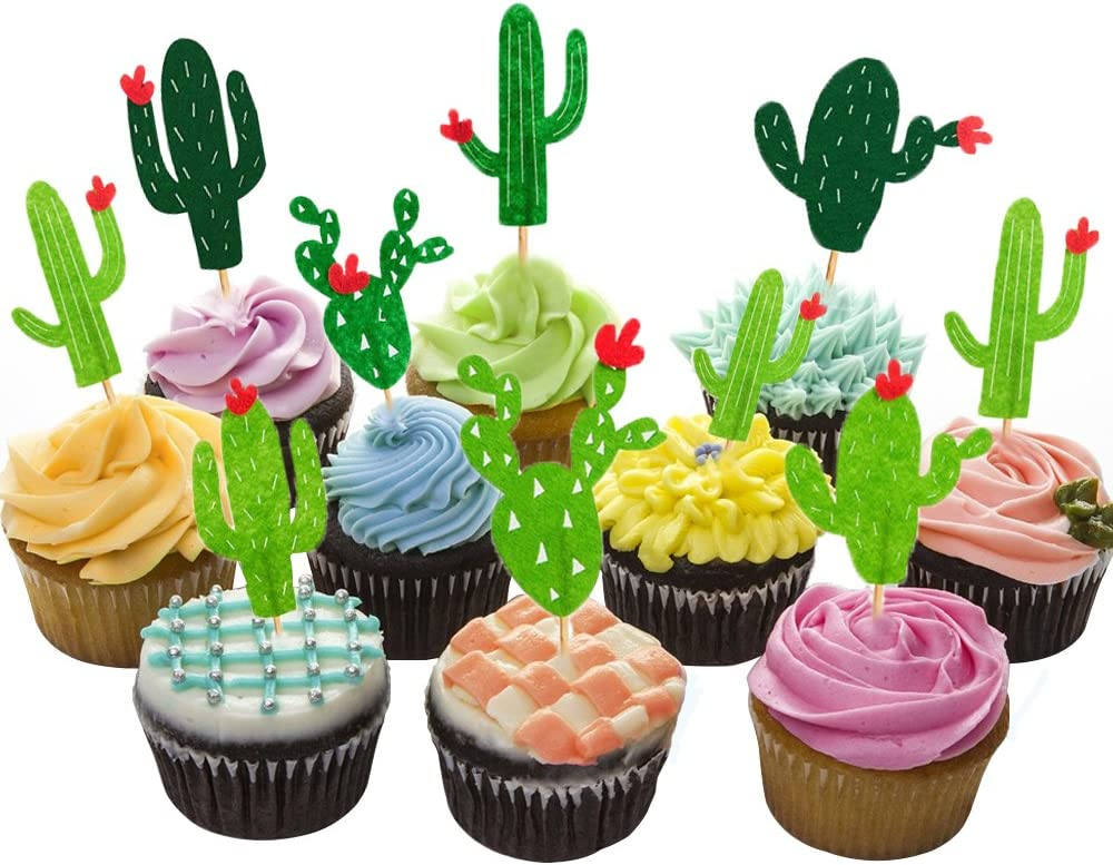 HOKPA Cactus Cupcake Toppers Summer Hawaii Theme Party Favors Cupcake Picks for Fruit Cake Decorations Fiesta West Tropical Cacti Birthday Party Supplies (24PCS)