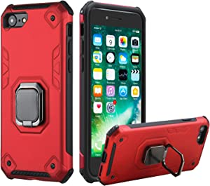 Reejax iPhone 7 Case iPhone 8 Case iPhone SE Case 2020, Military Grade Hard PC and Soft TPU Double Layer Drop Protection with 360 Rotatable Ring Holder Magnetic Kickstand for iPhone 7/8 /SE 2020(Red)