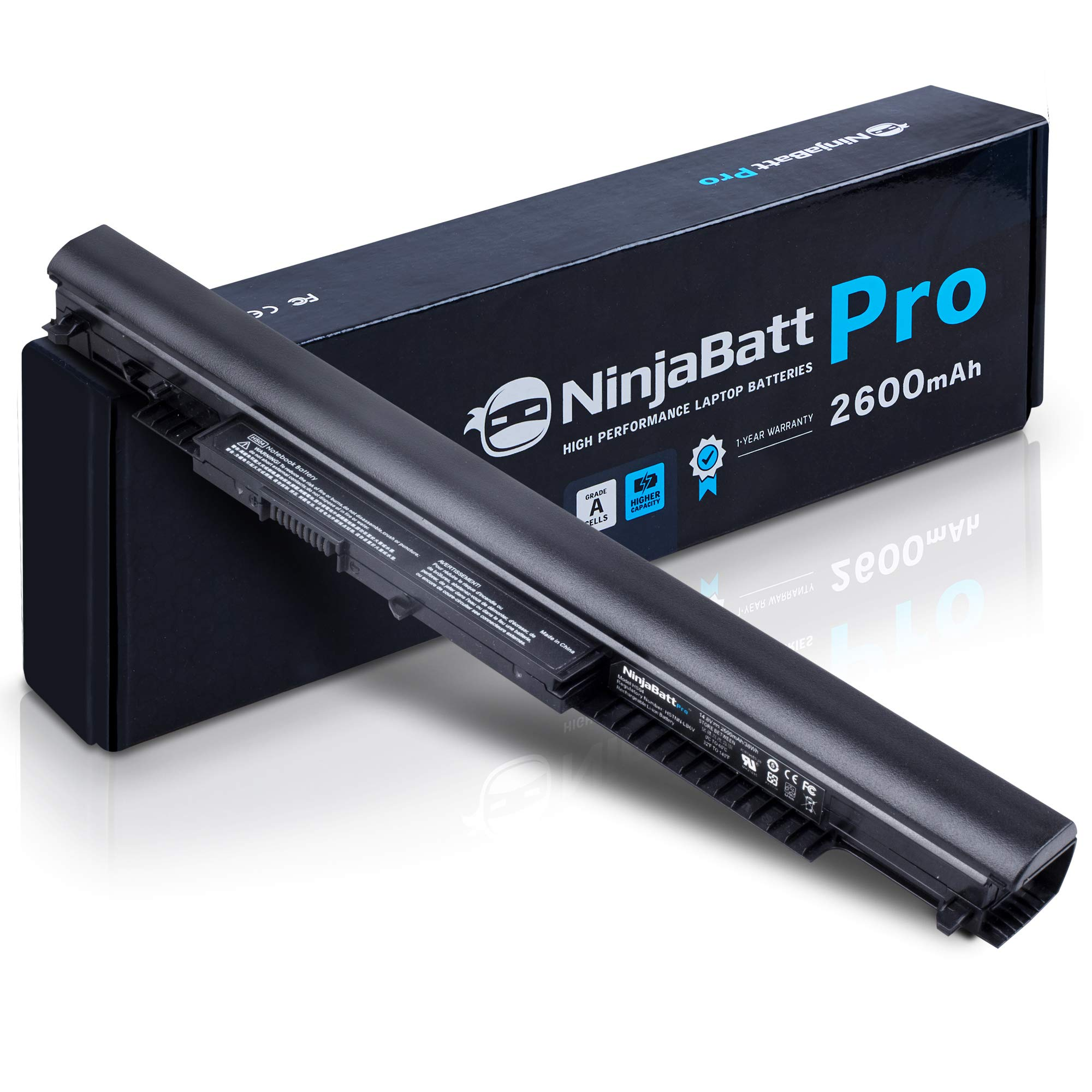 NinjaBatt Pro Battery for HP 807956-001 807957-001 HS04 807611-421 HS03 HSTNN-LB6U 15-AY039WM 15-AY009DX 15-AY061NR 15-BA009DX TPN-I119 15-AY041WM 255 G5 HSO4, Samsung Cells - [4 Cells/2600mAh]