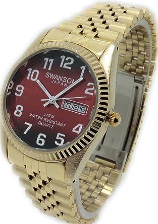 Reloj de Hombre Swanson Japan Watch Dorado,Numeros Grandes Fecha,Dia Resistente Al Agua