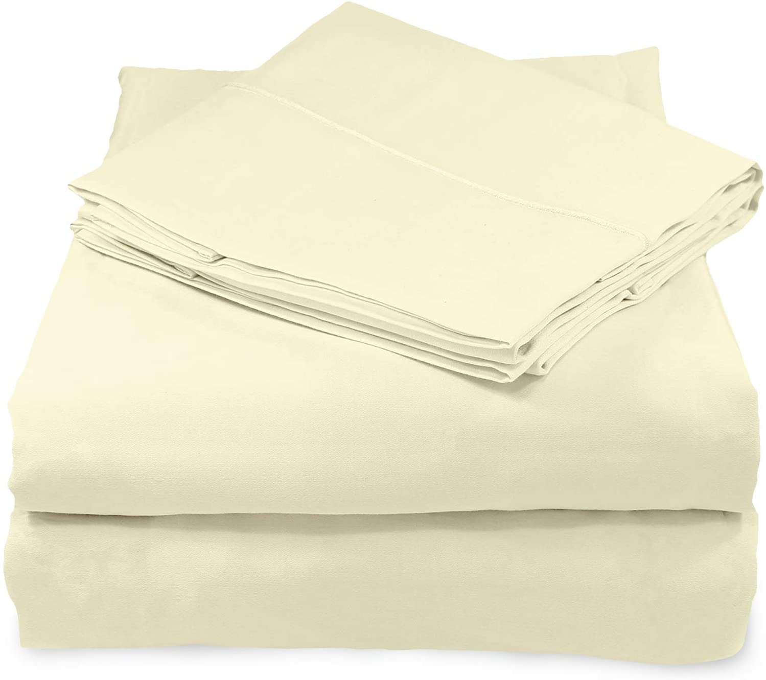 Whisper Organics, 100% Organic Cotton Sheets - 300 Thread Count Bed Sheets Set - Premium Quality Hypoallergenic Sheets - Deep Pocket Twin Sheet Set - GOTS Certified, Natural (King Size)