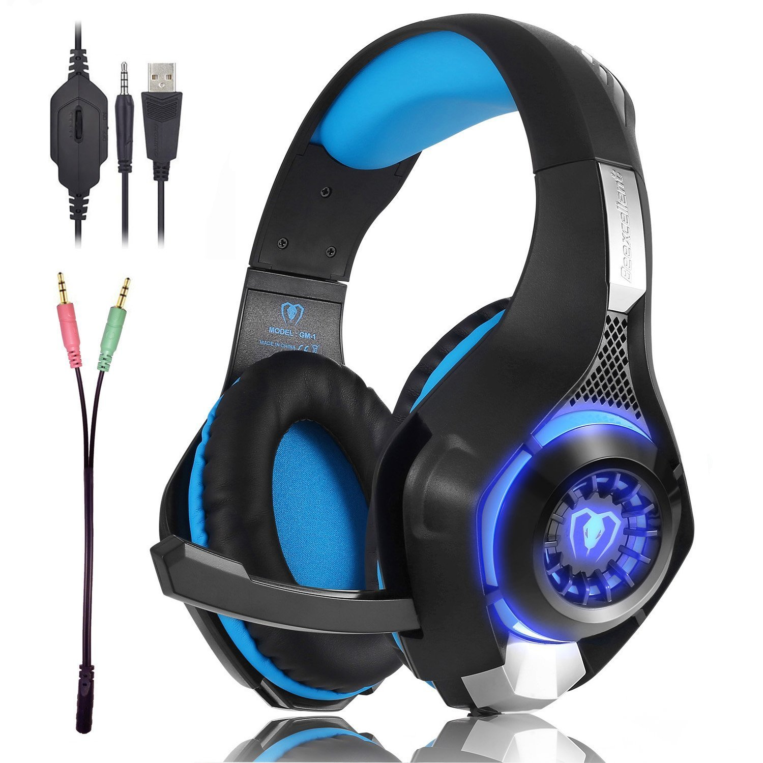 Gaming Headset for PS4 Xbox one 3.5mm Stereo Headset with Microphone LED Light Noise Reduction and Volume Control product image