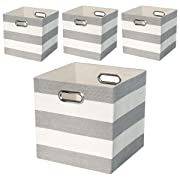 Posprica Collapsible Storage Cube Bins Boxes Basket Containers for Nursery,Office,Closet,11 inch Fabric Drawers,4pcs Grey-White Striped