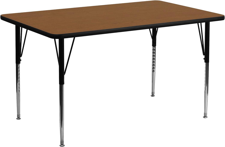 Flash Furniture 24''W x 60''L Rectangular Oak HP Laminate Activity Table - Standard Height Adjustable Legs