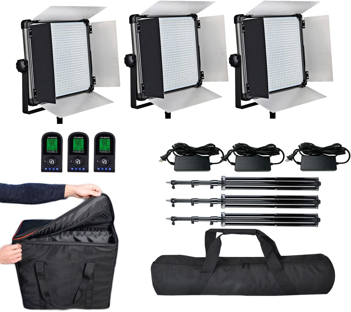Remote Controls and Carrying Bags 9 feet//280cm Light Stands Yidobol 140W LED Photo Video Studio Film Lighting Panel Kit Including Daylight 140W Photography Lights E-2000