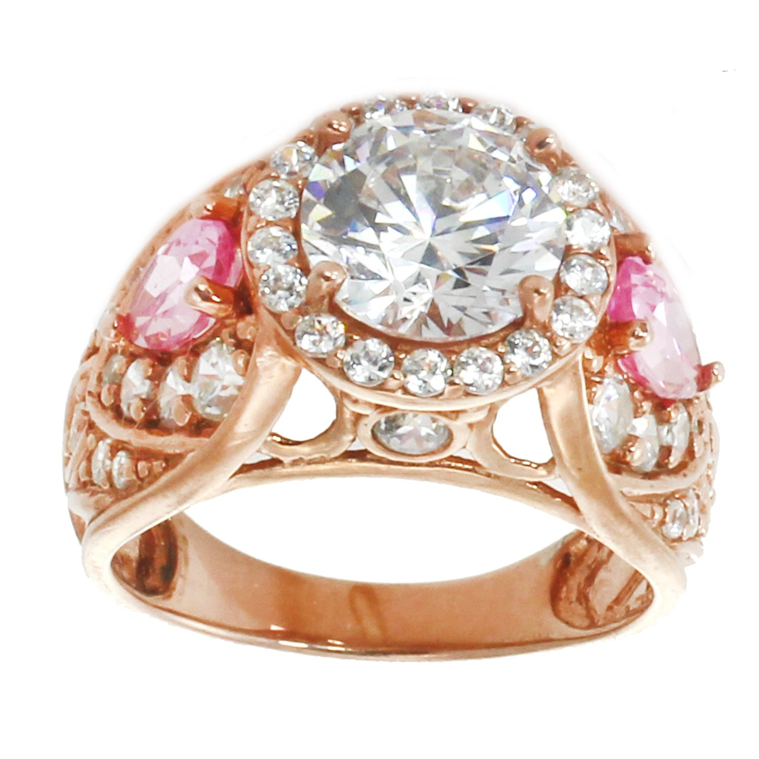 Michael Valitutti Sterling Silver Pink & White Cubic Zirconia Ring