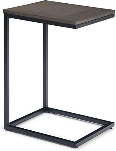 Simpli Home Thorpe Solid Mango Wood and Metal 14 inch wide Square Industrial Contemporary C Side Table in Warm Grey, for the Living Room and Bedroom