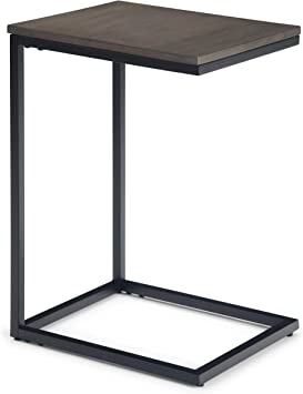 Amazon Com Simplihome Thorpe Solid Mango Wood And Metal 14 Inch Wide Square Industrial Contemporary C Side Table In Warm Grey For The Living Room And Bedroom Furniture Decor