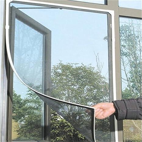 Mosquitera para Ventana, mosquitera con Velcro Invisible Cortina a Vela para Ventana para protección de Insectos y Mosquitos, Blanco 150 x 130 cm ...