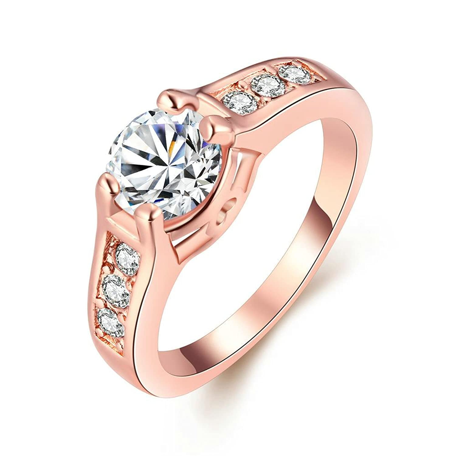 Gnzoe Fashion Jewelry Rose Gold Plated Women Rings Simple Round AAA CZ Zircon Wedding Bands