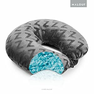 MALOUF Z Shredded Gel-Infused Memory Foam Travel Neck Pillow with Soft Rayon from Bamboo Cover