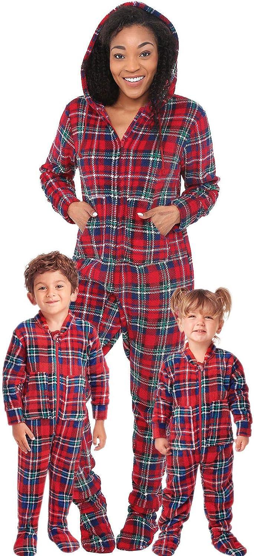 Alexander Del Rossa Women's Warm Fleece One Piece Footed Pajamas, Winter Christmas Onesie with Hood