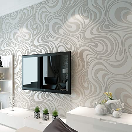 Enko modern luxury abstract curve 3d wallpaper roll mural paper flocking striped color wallpaper