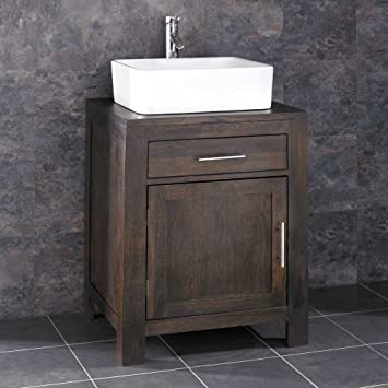 Clickbasin Alta Wide Solid Wenge Oak Single Door Bathroom