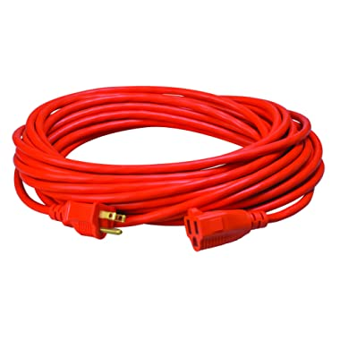 Coleman Cable 23088803 02308 16/3 Vinyl Outdoor Extension Cord, Orange, 50-Feet