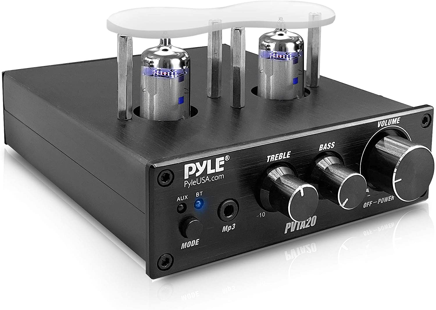 Bluetooth Tube Amplifier Stereo Receiver - 600W Home Audio Desktop Stereo Vacuum Tube Power Amplifier Receiver w/ 2 Vacuum Tubes, AUX/MP3/Microphone Inputs, Pure Copper Speaker Output - Pyle PVTA20