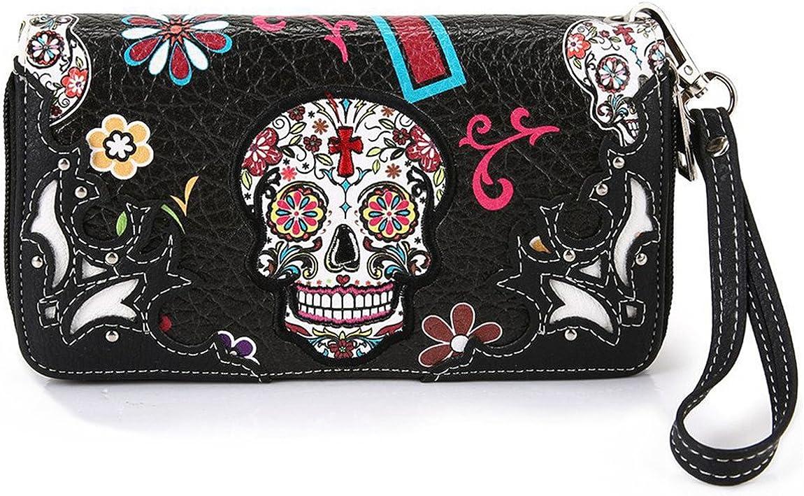 Cowgirl Trendy Western Purse Sugar Skull, Cross Clutch Wallet Day of the Dead Wristlet, Black