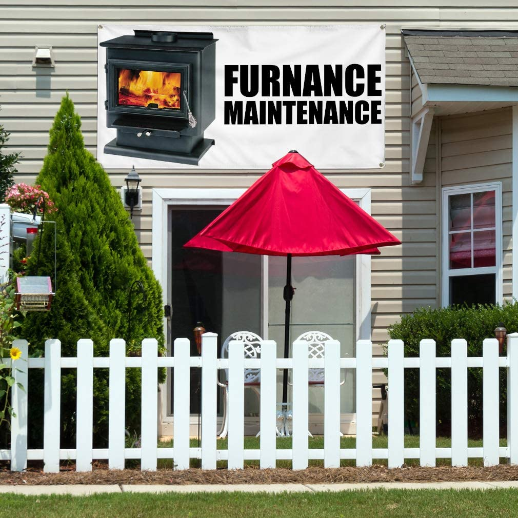 Vinyl Banner Multiple Sizes Furnace Maintenance Advertising Printing Business Outdoor Weatherproof Industrial Yard Signs White 10 Grommets 60x144Inches