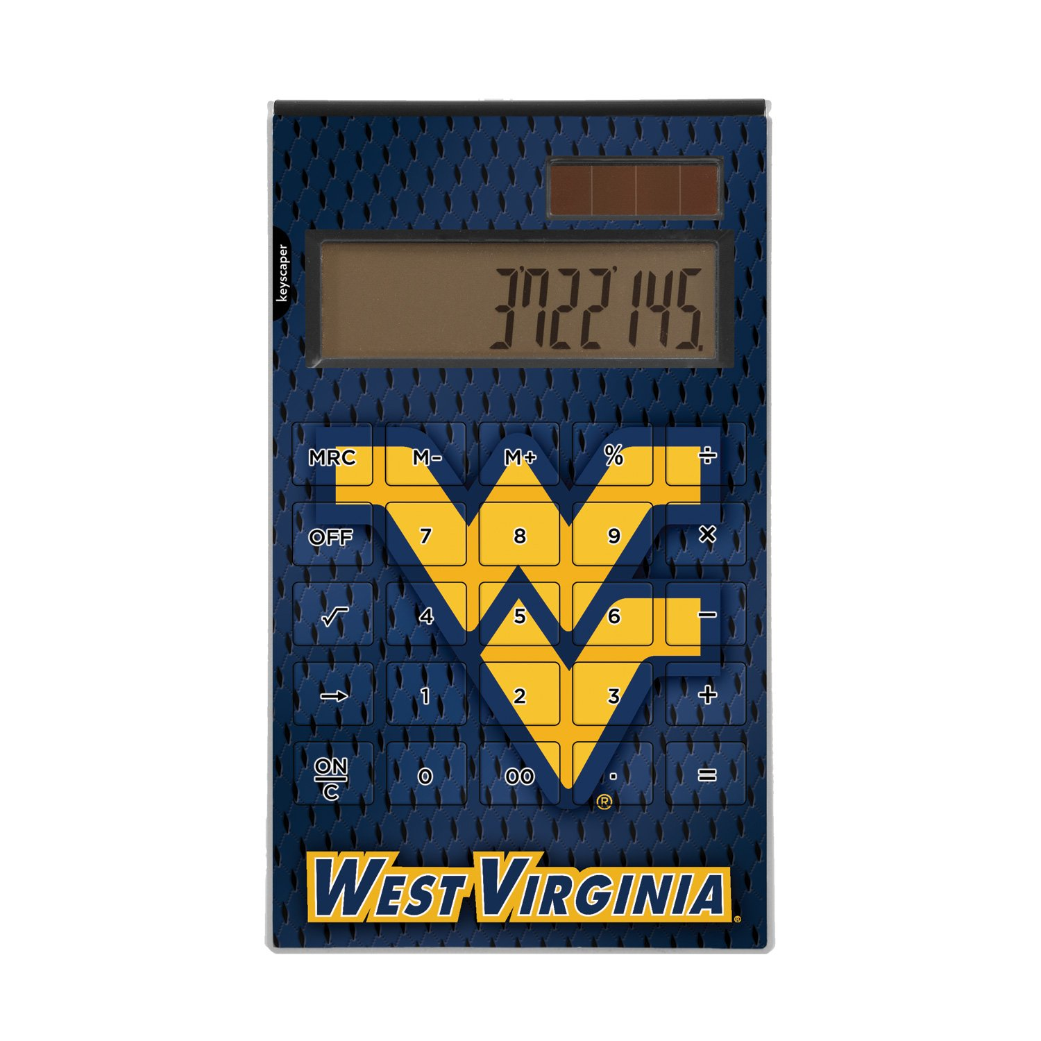 West Virginia Mountaineers Desktop Calculator officially licensed by West Virginia University Full Size Large Button Solar by keyscaper® by Keyscaper